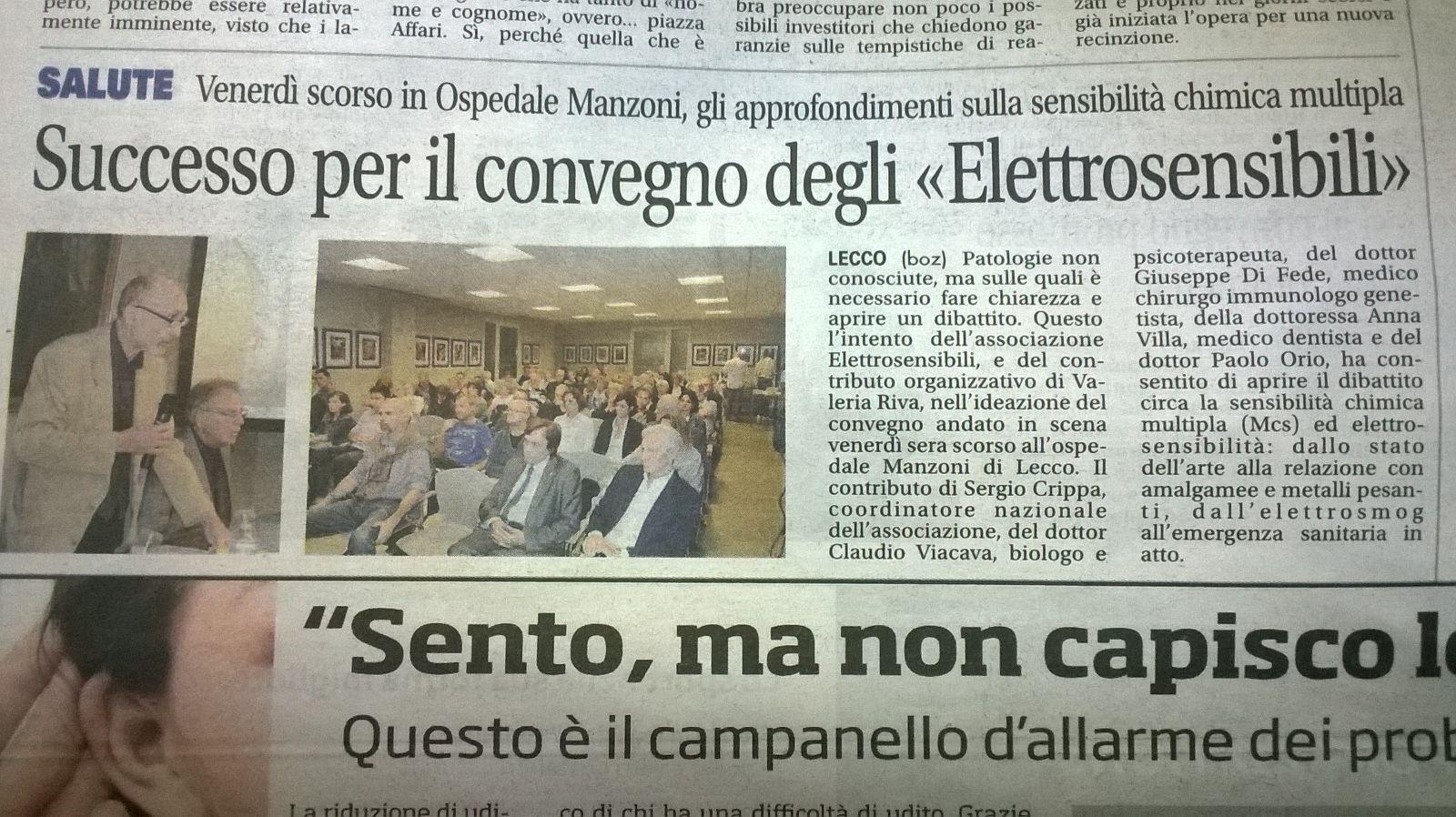 """Da """"Il Giornale di Lecco"""" del 21 settembre 2015."""